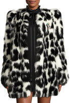 Marc Jacobs Leopard-Print Faux-Fur Coat, Black