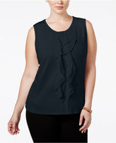 Charter Club Plus Size Ruffled Sleeveless Top, Only at Macy's