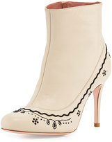 RED Valentino Scallop-Embroidered Leather Bootie, Dove
