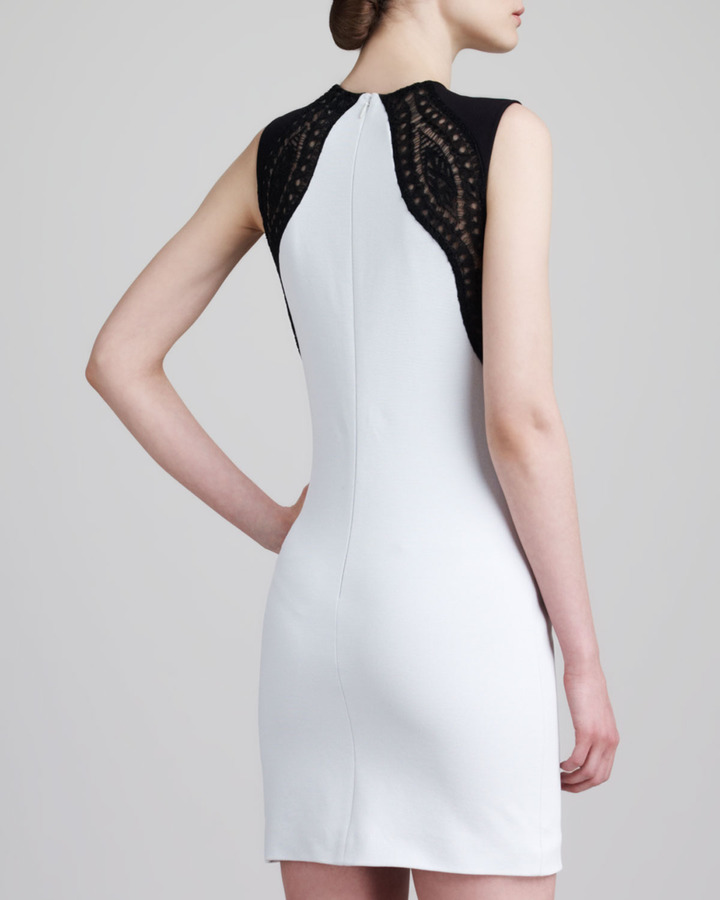 Emilio Pucci Lace-Shoulder Sleeveless Sheath Dress, White/Black