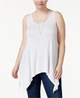 Celebrity Pink Trendy Plus Size Handkerchief-Hem Tank Top