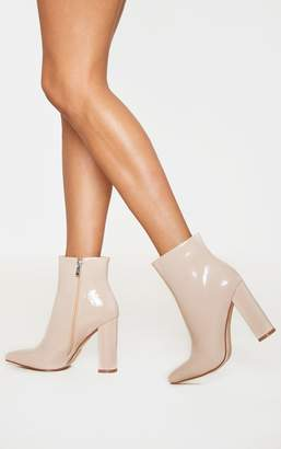 PrettyLittleThing Nude High Block Heel Point Ankle Boot