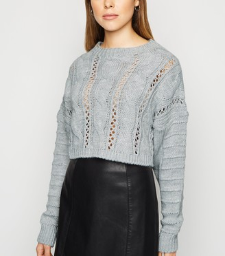 New Look Cameo Rose Cable Knit Crop Jumper