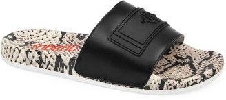 Roberto Cavalli Men's Snakeskin-Print Leather Pool Slide Sandals