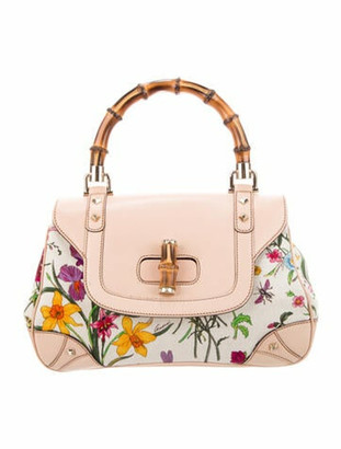 Gucci Flora Bamboo Top Handle Bag White