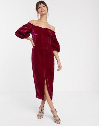 ASOS EDITION off shoulder puff sleeve pencil dress in velvet