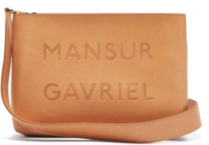 Mansur Gavriel Logo Debossed Leather Cross Body Bag - Womens - Brown Multi