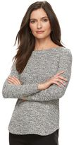 Croft & Barrow Petite Side-Zip Tweed Boatneck Sweater