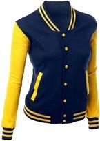 Xpril Women's Cheep Varsity Jacket NAVYYELLOW S