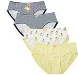 uxcell Women Assorted Cartoon Combed Cotton Low-Rise Brief Underwear 4 Pack Large