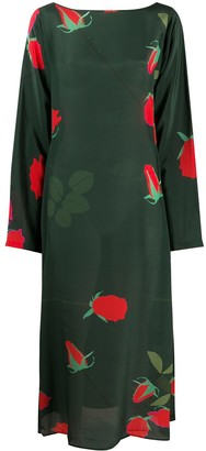 BERNADETTE Rosebud Print Silk Dress