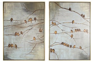 Graham & Brown Flock of Birds Hand Painted Framed Canvas Prints Set of 2