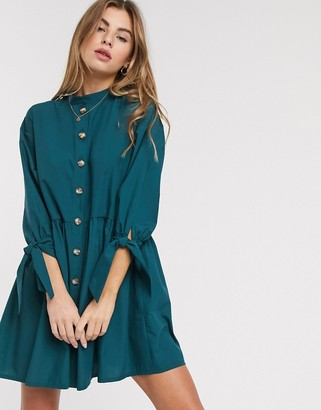 ASOS DESIGN grandad collar button through mini smock dress with tie sleeve in forest green