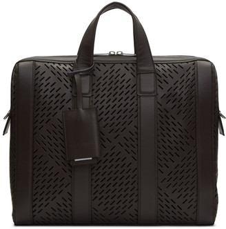 Bottega Veneta Brown Perforated Briefcase