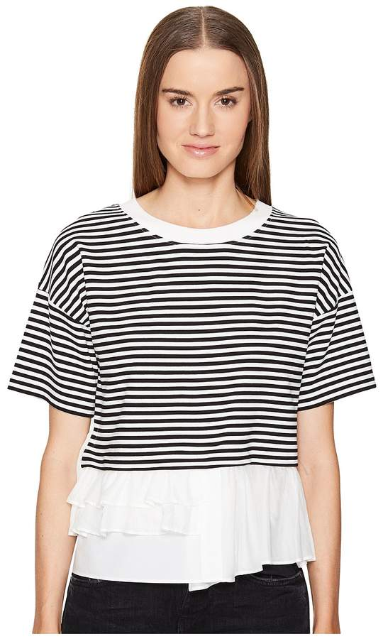 Moschino Striped Top w/ Bottom Ruffle Women's Clothing