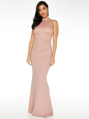 Quiz Scuba High Neck Lace Insert Maxi Dress - Blush