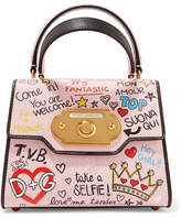 Dolce & Gabbana Welcome Mini Printed Leather Tote - Pastel pink