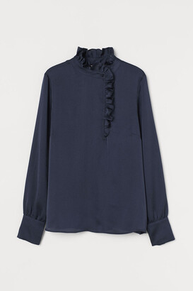 H&M Ruffle-trimmed Blouse - Turquoise