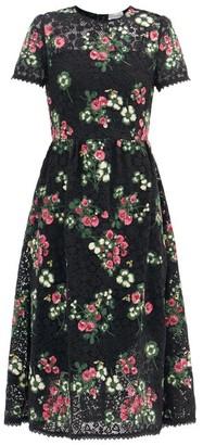 RED Valentino Floral-embroidered Macrame Midi Dress - Black Multi