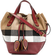 Burberry Heston checked drawstring bag - women - Cotton/Leather - One Size