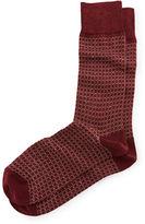 Neiman Marcus Circle-Pattern Heather Crew Socks