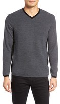 Zachary Prell Men's V-Neck Colorblock Merino Wool Pullover