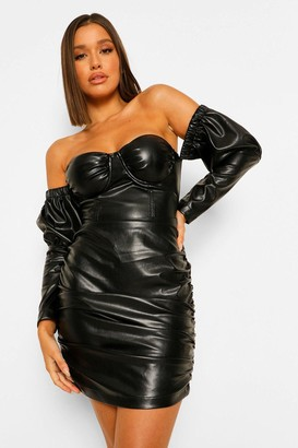 boohoo Faux Leather Ruched Cupped Dress