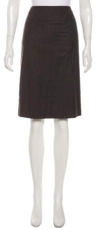Chanel Wool Knee-Length Skirt Brown Wool Knee-Length Skirt