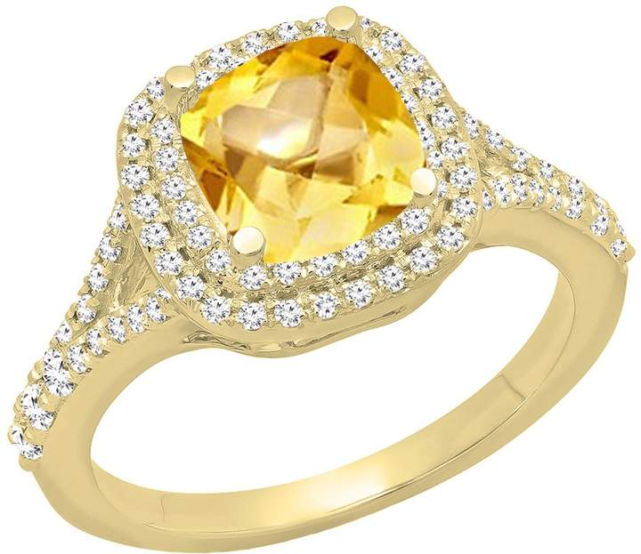 DazzlingRock Collection 14K Yellow Gold Round Cut 6.5 MM Aquamarine & White Diamond Bridal Halo Engagement Ring (Size 8)