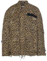 R 13 Abu Distressed Leopard-print Cotton-canvas Jacket