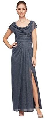 Alex Evenings Petite Long Glitter Mesh Cowl Neckline A-Line Dress (Smoke) Women's Dress