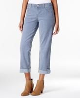Style&Co. Style & Co Style & Co Petite Railroad Stripe Curvy-Fit Cuffed Capri Jeans, Created for Macy's