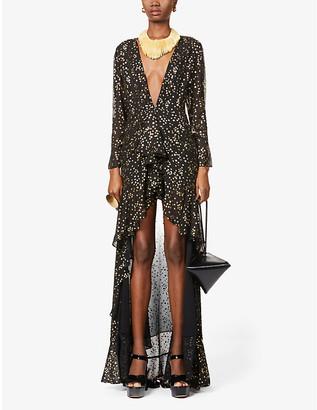 ATTICO Star-print chiffon maxi dress
