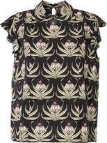 Markus Lupfer printed ruffle sleeve blouse
