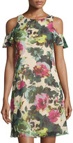 Taylor Cold-Shoulder Floral-Print Trapeze Dress, Tan