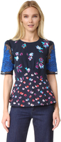 Rebecca Taylor Short Sleeve Print Top with Lace