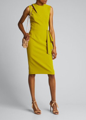 Rickie Freeman For Teri Jon Sleeveless Cutout Side-Drape Crepe Dress