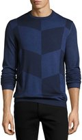 Armani Collezioni Enlarged-Chevron Virgin Wool Crewneck Sweater, Blue