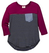 Hip Chambray Pocket Stripe Tee (Big Girls)