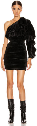 Redemption One Shoulder Velvet Glitter Frill Dress in Black | FWRD