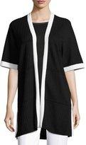 St. John Matte Shine Rib-Knit Raglan Cardigan, Black/White