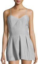 Romeo & Juliet Couture Pleated V-Neck Short Jumpsuit, Gray
