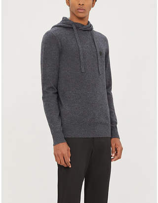 Logo-badge wool and cashmere-blend hoody
