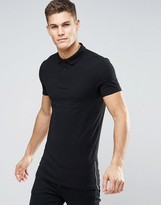 Asos Longline Muscle Polo In Black With Side Zips