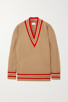Burberry Oversized Striped Wool Sweater - Camel