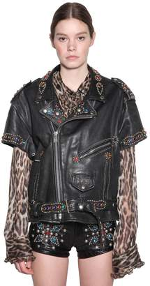 R 13 Short Sleeve Studded Leather Jacket
