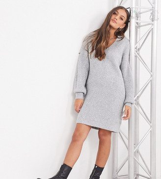ASOS DESIGN Petite v-neck chunky mini dress