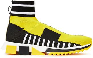 Dolce & Gabbana Monogram-trimmed Intarsia-knit Sneakers