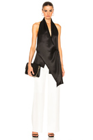 Victoria Beckham Silk Twill Draped Top in Black.