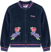 MSGM Embroidered velvet bomber jacket